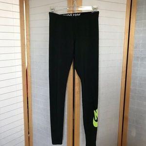 Nike XS leggings black and neon green full length